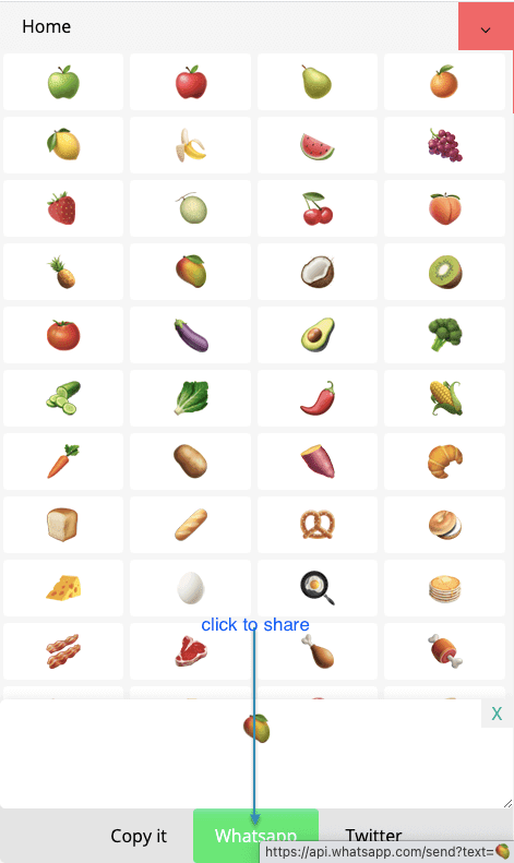 How to Share 🥗 Food Symbols on Whatsapp?