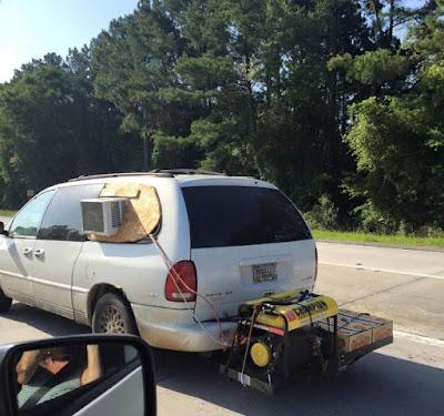 Une climatisation artisanale sur la voiture familiale