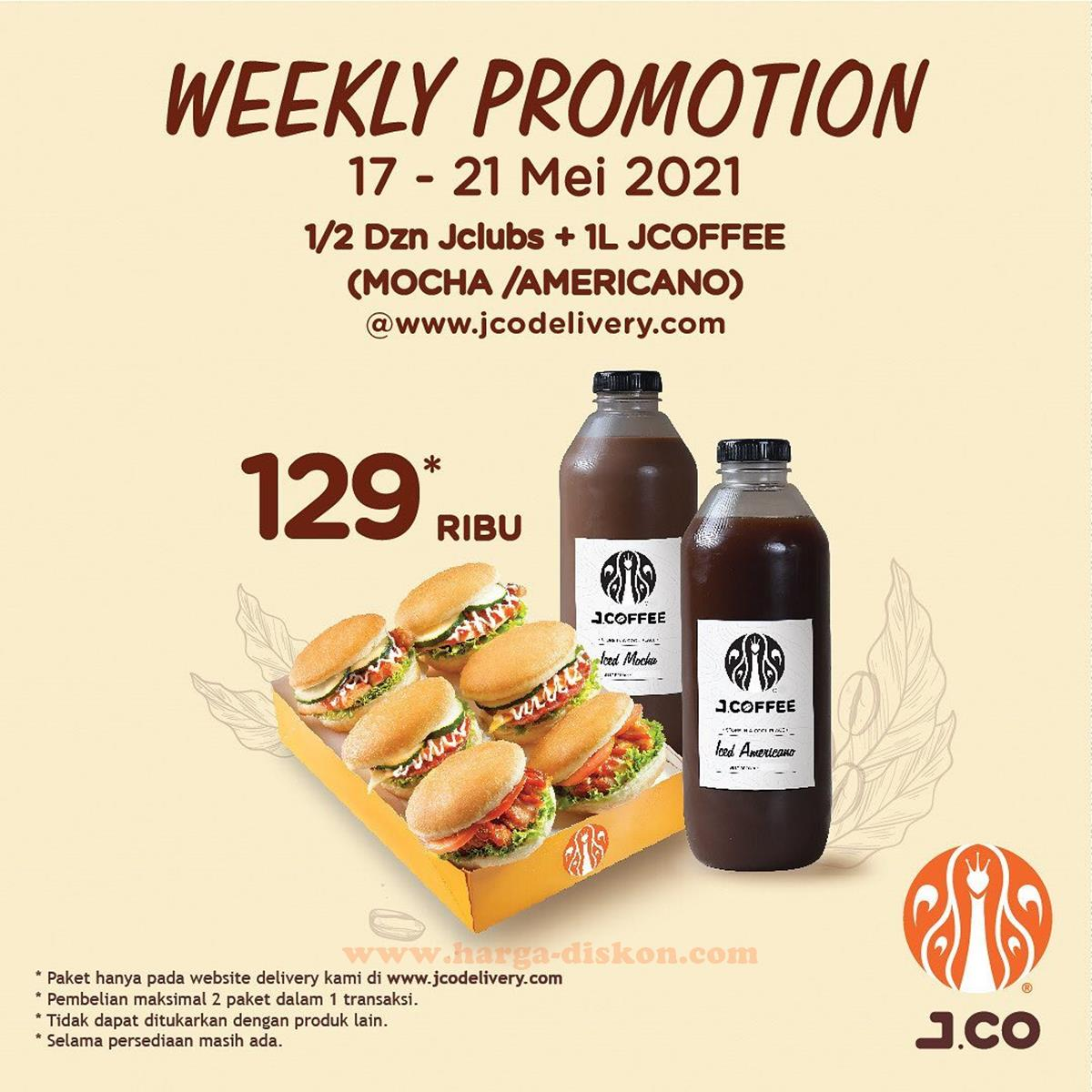 Promo JCO Delivery 1/2 Lusin JClubs + 1 L JCoffee Rp129.000 Periode 17 - 21 Mei 2021
