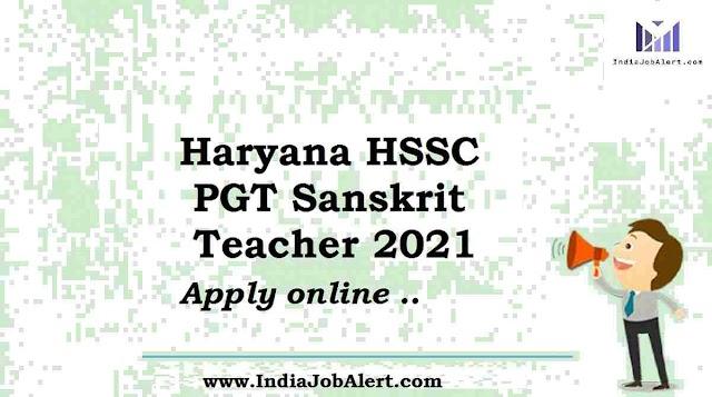 HSSC PGT Sanskrit Apply Online Form 2021
