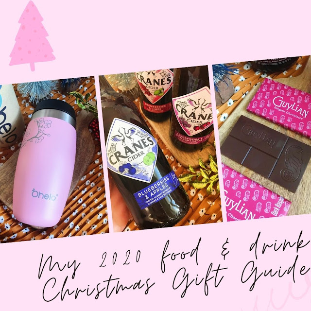 collage - pink background, ohelo travel cup, cranes cider, guylian chocolate