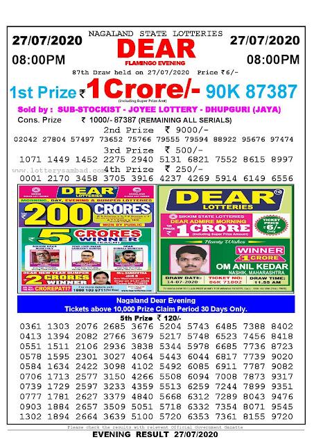 Nagaland State Lotteries 27-07-2020 Lottery Sambad Result 8:00 PM