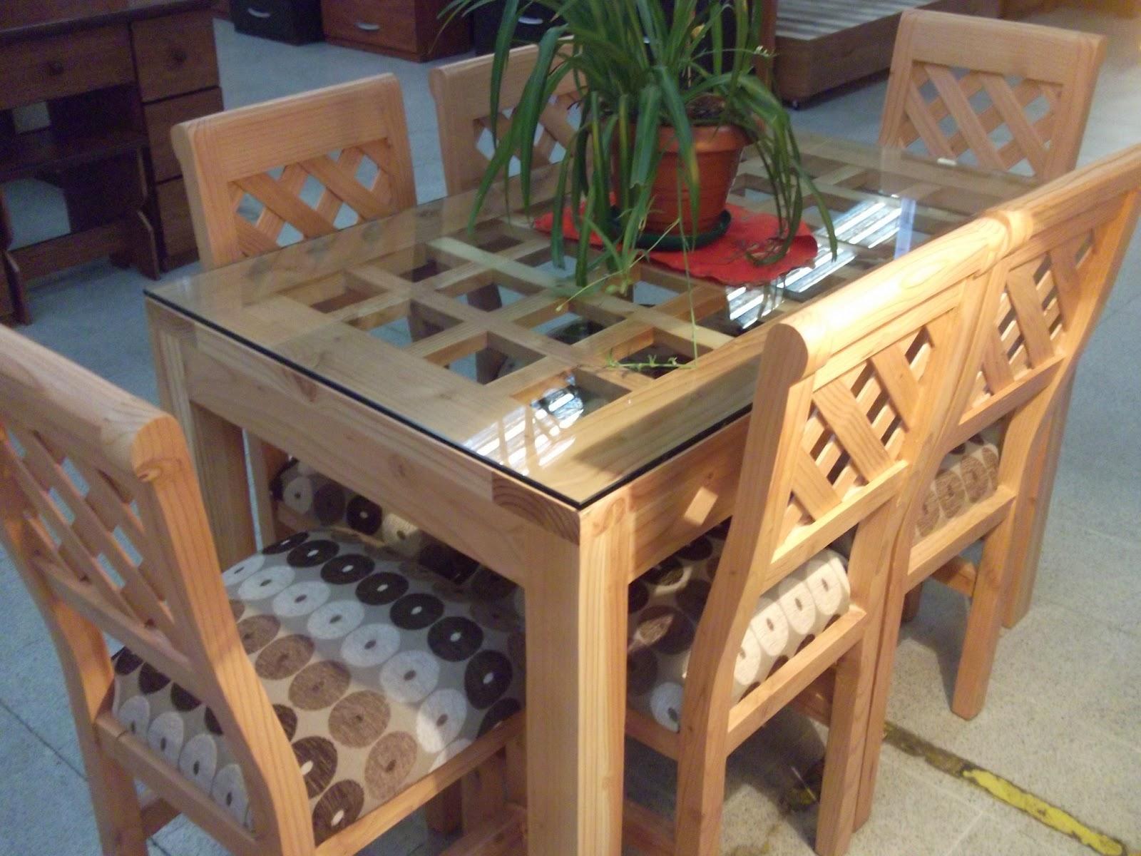 Muebles camila comedor de pino oreg n nacional chico for Comedores de madera y vidrio