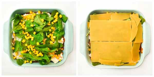 how to make spinach and corn lasagne - step 6 ( layer of spinach and corn, then a layer of pasta sheets)