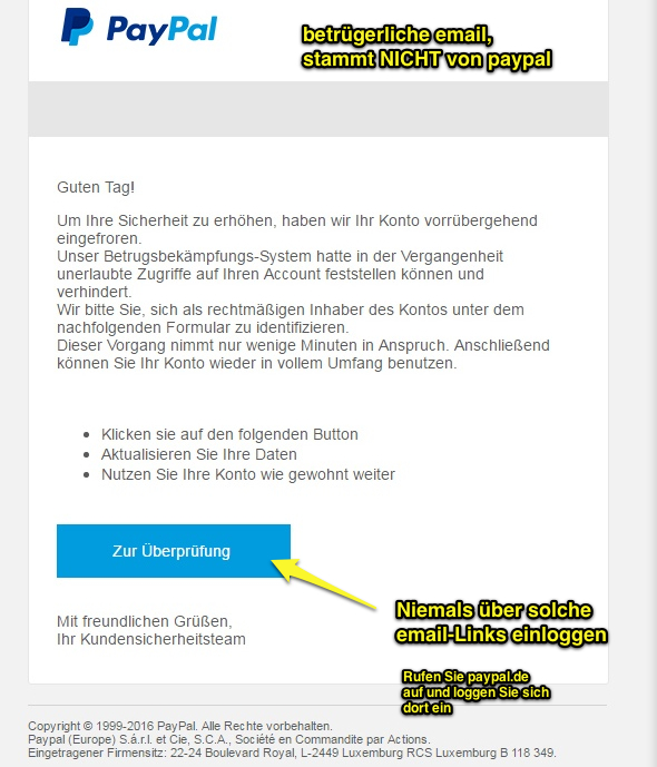 paypal falsche email angegeben