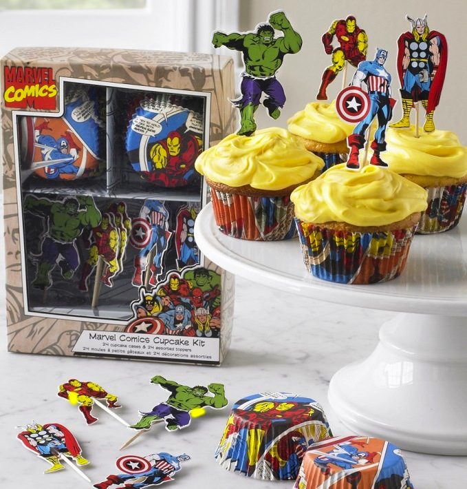 Hulk, Iron Man,  Thor, and Captain America figures on iced cupcakes
