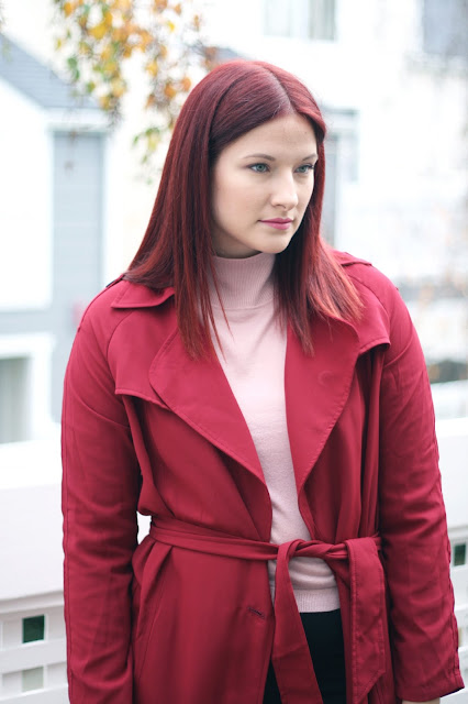 burgundy coat, make me chic, affordable, fashion blogger