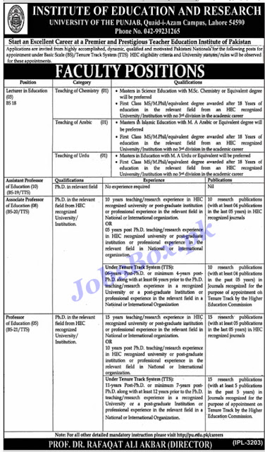 University of Punjab jobs 2021 | PU Jobs in Lahore