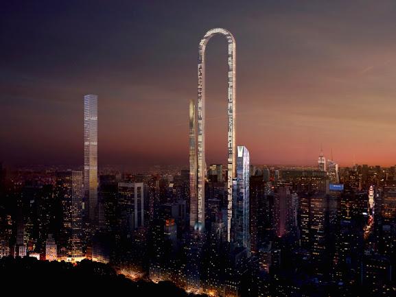 Phối cảnh thiết kế ban đêm của tòa tháp bẻ cong hình chữ U
