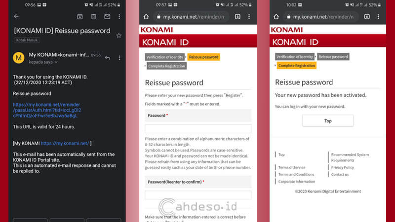 Cara Ganti Password Akun ID KONAMI