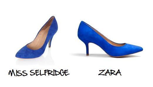 Clones 2011 zapatos Zara Miss Selfridge