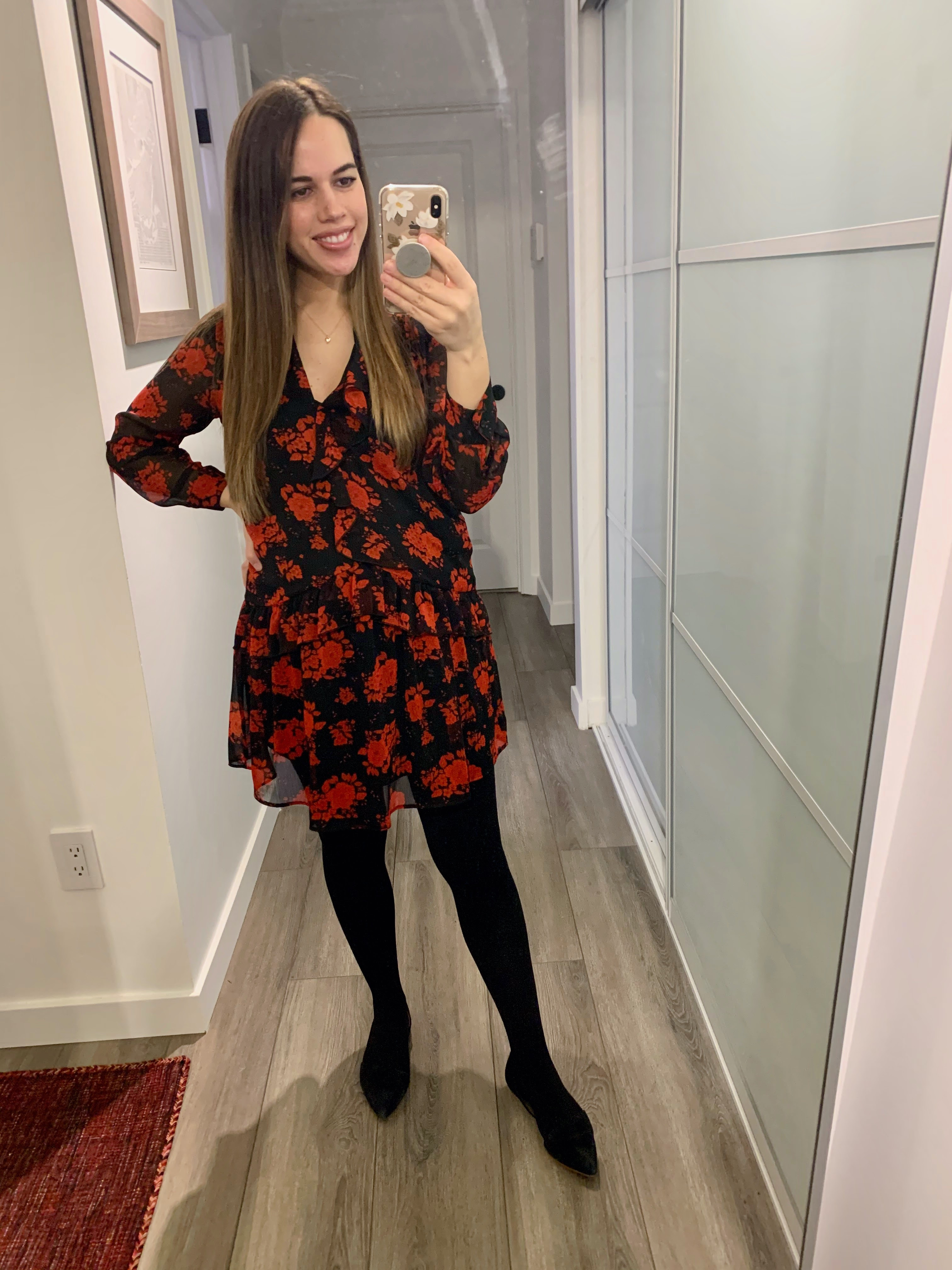 Jules in Flats - Floral Ruffle Front Mini Dress (Business Casual Workwear on a Budget)