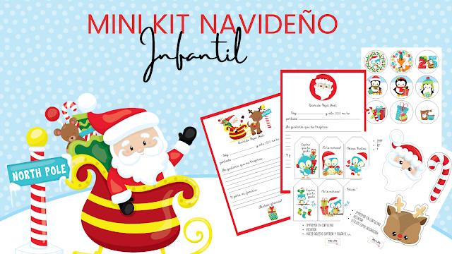 kit, imprimir, navidad, papa noel, etiquetas, pegatinas, carta, infantil