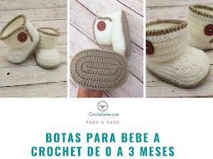 Botas para bebe a crochet de 0 a 3 meses