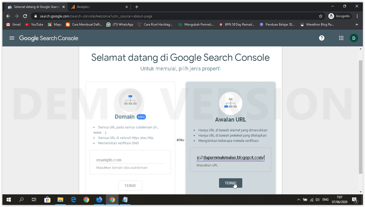 menambah property google search console