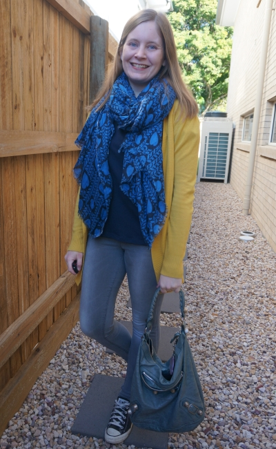mustard cardigan with navy and grey skinny jeans and converse outfit heart print scarf balenciaga bag | away from blue