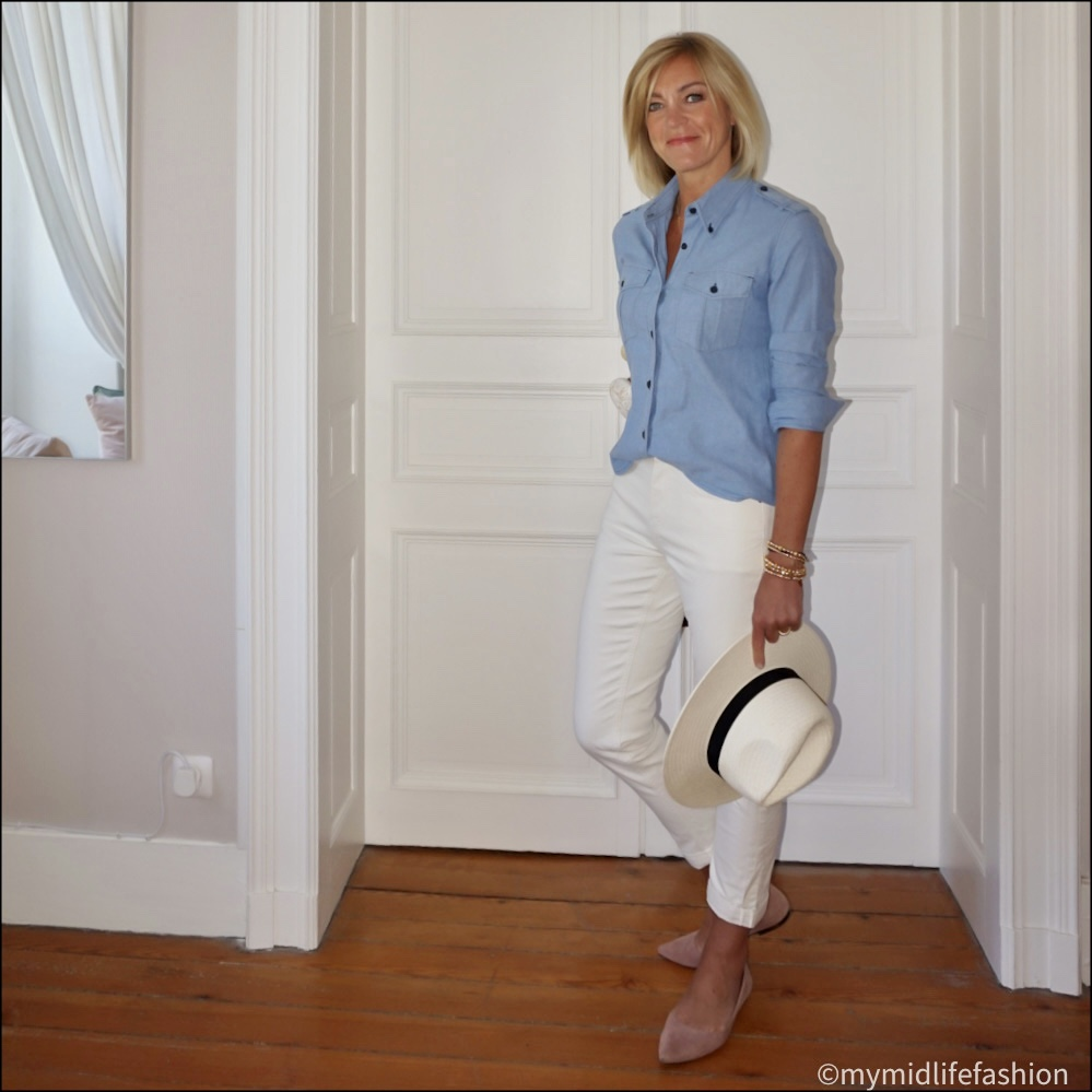 my midlife fashion, Zara Panama hat, Isabel Marant etoile military chambray shirt, Boden girlfriend jeans, h and m cut out ballet flats