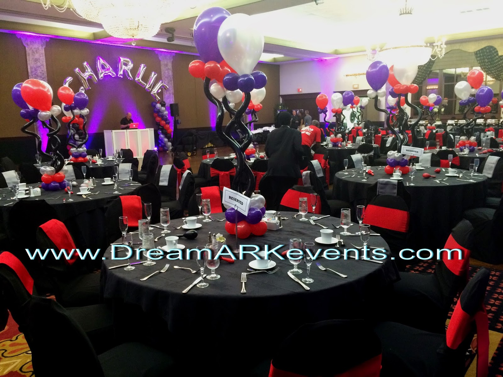 Balloon column with name, centerpiece, dance floor