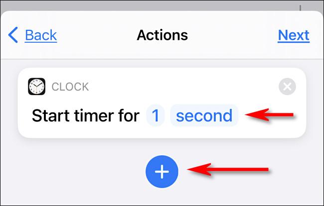 """اضبط المؤقت على """"ثانية واحدة"""" ثم اضغط على زر علامة الجمع."""