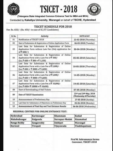 TS ICET Notification 2018