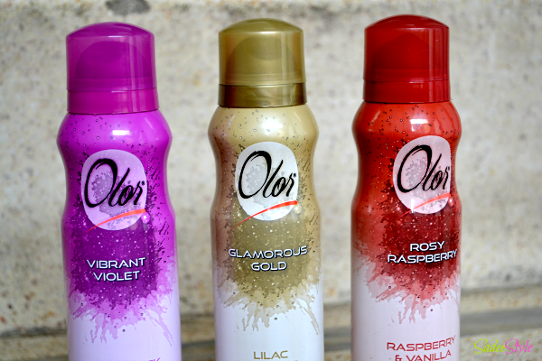 Olor Deodrant Body Spray Vibrant Voilet, Glamorous Gold and Rosy Raspberry