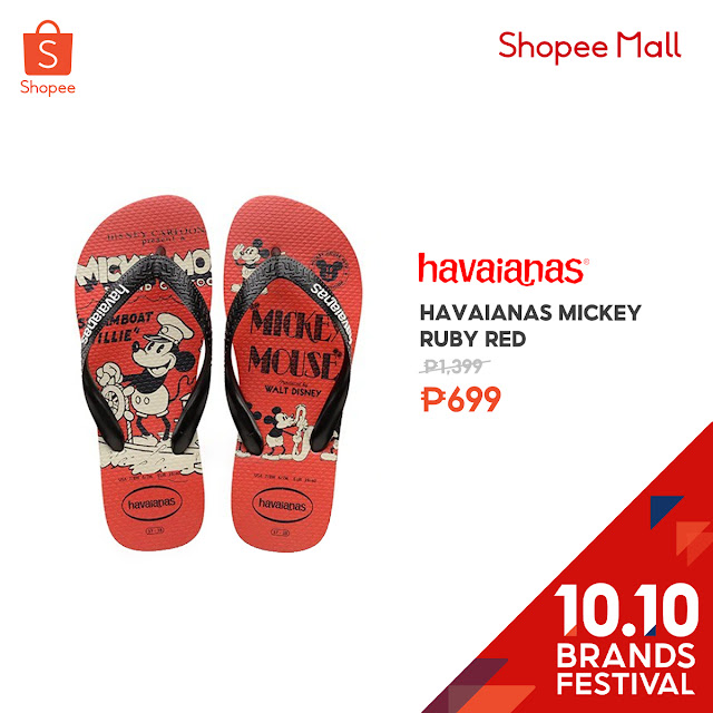 Havaianas Mickey Ruby Red at 50% Off on Shopee's 10.10 Brands Festival