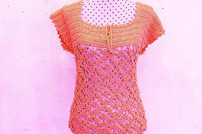 6 - Crochet IMAGEN Blusa verde a crochet y ganchillo muy fácil y sencilla. MAJOVEL CROCHET