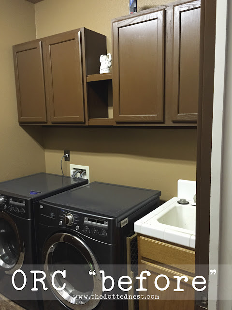 "Dark colored laundry room ""before"" photo - Farmhouse Glam Laundry Room Makeover"