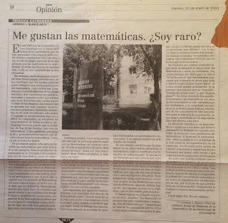 Me gustan las Matemáticas, HOY Lorenzo J. Blanco Nieto