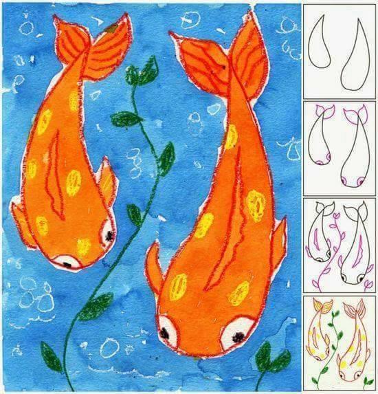 Belajar menggambar ikan untuk anak-anak