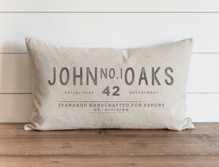 vintage custom name pillow farmhouse style