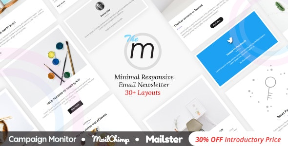 Miley - Minimal Responsive Email Template with Online Builder
