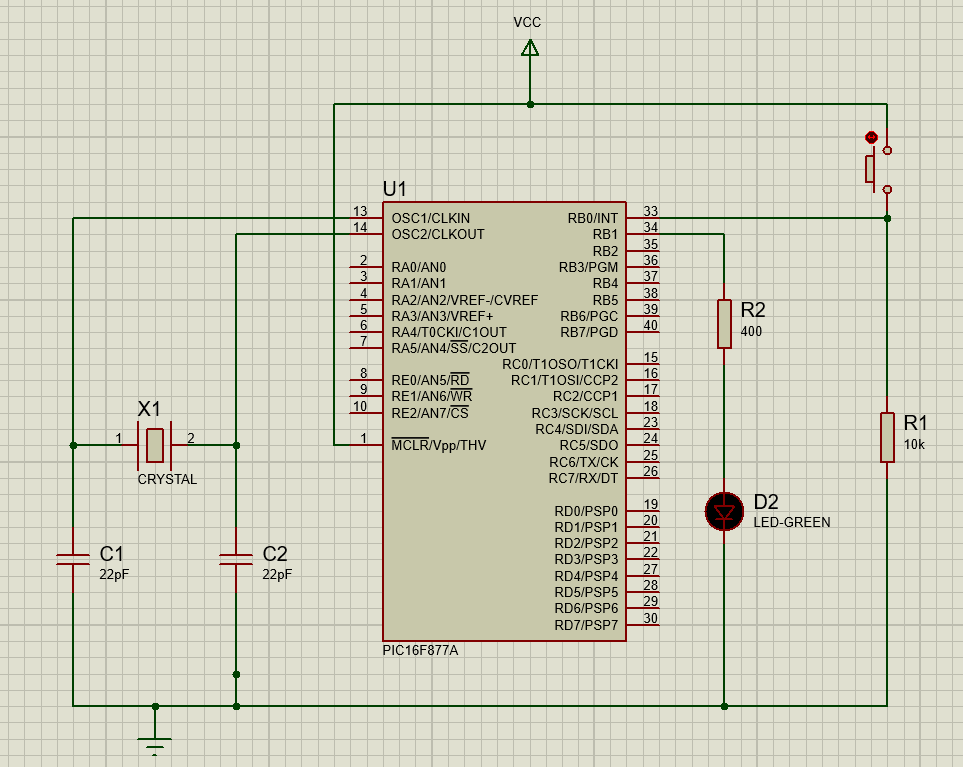 Interrupts in PIC16F877A Pic microcontroller with Push button