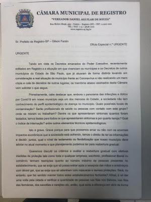 Vereadores pedem a união de várias entidades para a avaliação da reabertura gradual do comércio em Registro-SP