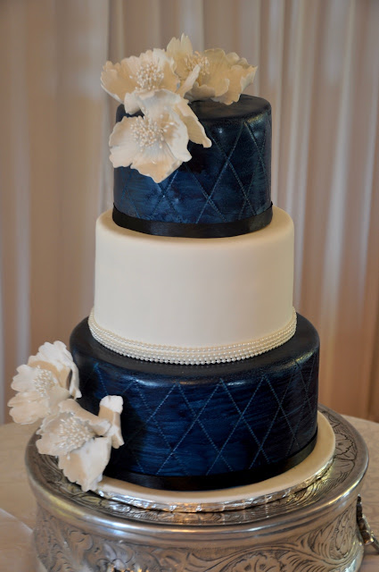 white gold and royal blue wedding cake rozanne s cakes navy blue and white wedding cake 27292