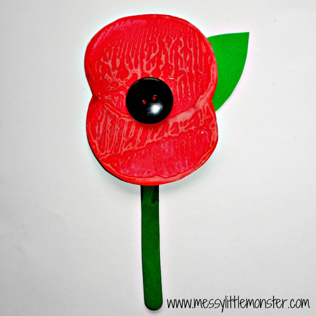 Remembrance day poppy potato print craft for kids