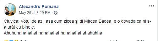 Ciuvica: Votul de azi, asa cum zicea și dl Mircea Badea, e o dovada ca ni s-a urât cu binele.