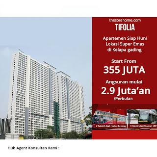 Apartemen Tifolia  Pulomas Jakarta.Harga 355 Jt Apartemen Tifolia merupakan tower apartemen ke-2 yang akan di dirikan di atas lahan seluas 4 hektar di Pulomas Jakarta,yang merupakan gerbang masuk ke area kelapa gading.Konsep dari tifolia ini adalah hunian ekslusif dengan total unit hanya 560 unit apartemen dengan jumlah unit setiap lantainya hanya 17 unit.