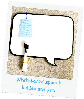 speech bubble whiteboard and pen