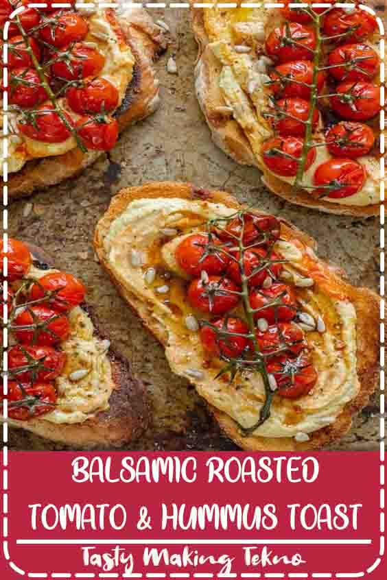 Crusty sourdough toast topped generously with silky hummus and jewels of sweet balsamic roasted tomatoes. The perfect breakfast, brunch or lunch! Vegan, GF & healthy.