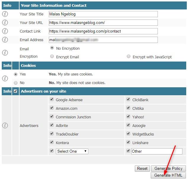 Cara Membuat Privacy Policy untuk Blog  Anda