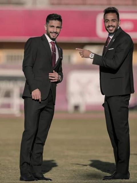 كهربا وأيمن أشرف فى جلسة تصوير النادى الأهلى لكأس العالم للأندية 2021