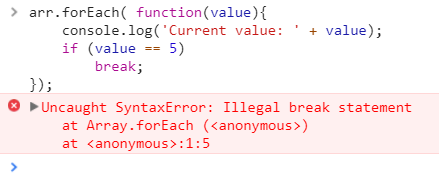 Javascript forEach loop with break statement does not work