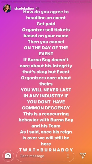 'Burna Boy Is The Most Unprofessional Artiste' - Media Personality, Shade Ladipo