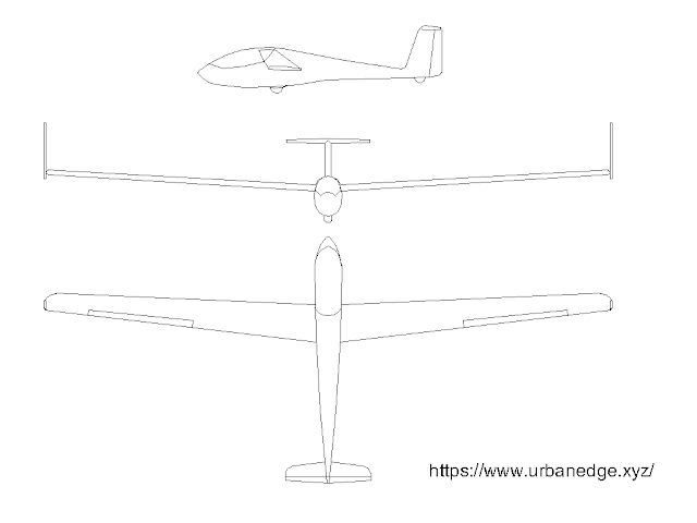 Glider plane free cad block download - Plan and Elevations