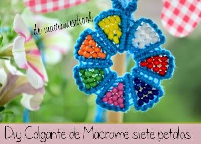 Colgante Flor de Macrame 7 Petalos Diy