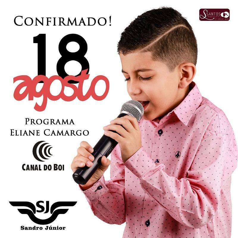 Confirmado a data de apresentação do brumadense Sandro Júnior no programa da Eliane Camargo