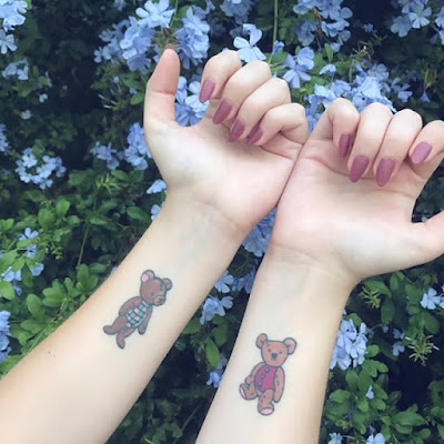 simple teddy bear tattoo for couples