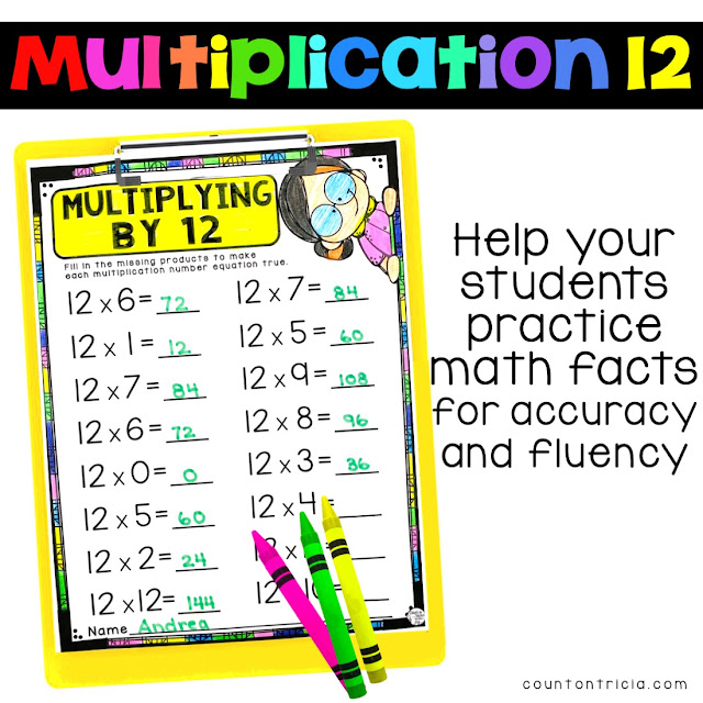 Multiplying by 12 Free Activities for Third Grade, Fourth Grade and Fifth Grade Math Review