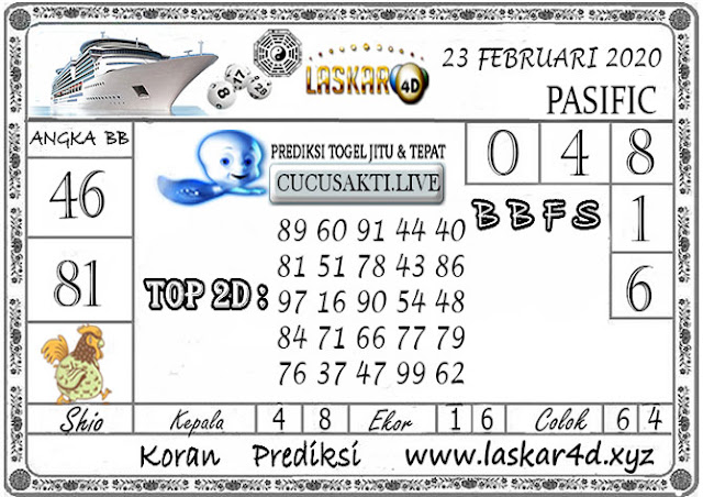 Prediksi Togel PASIFIC LASKAR4D 23 FEBRUARI 2020